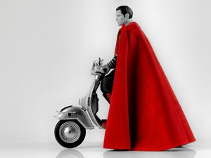 Superman Henry Cavill in Vespa
