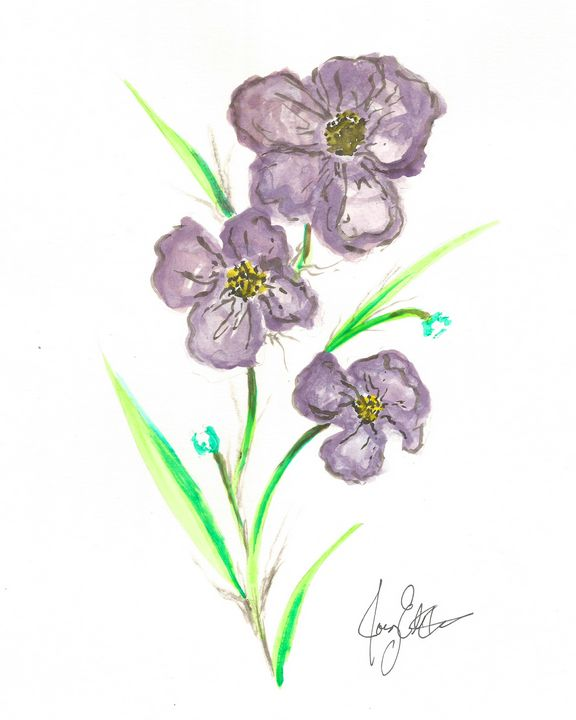 Purple Blooms by Joey Ellison - Joey Art Live