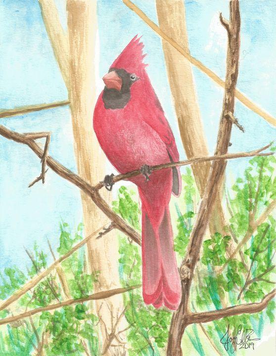 Cardinal Perch by Joey Ellison - Joey Art Live