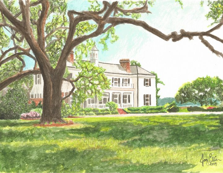 Oak Villa Watercolor by Joey Ellison - Joey Art Live