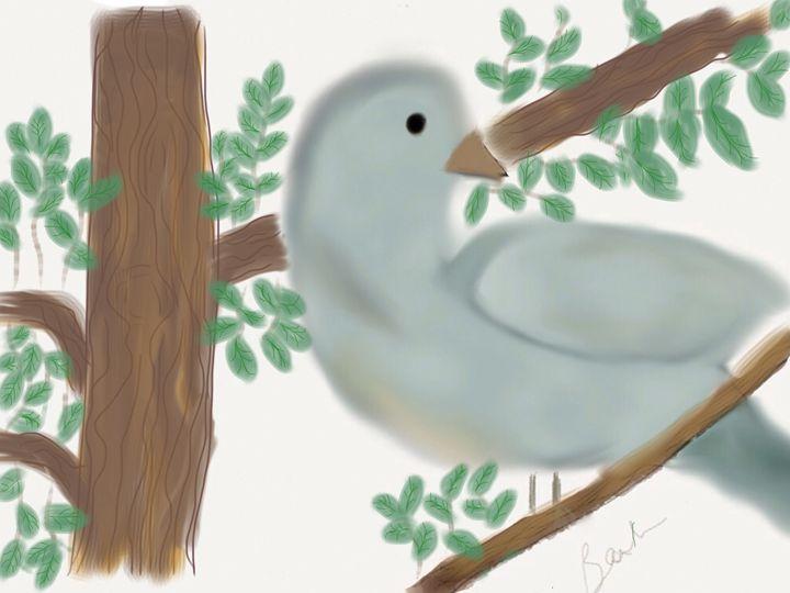 Looking Bird in Tree - Barbara Marlin