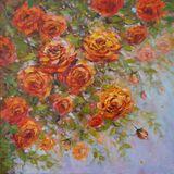 original painting of blooming roses