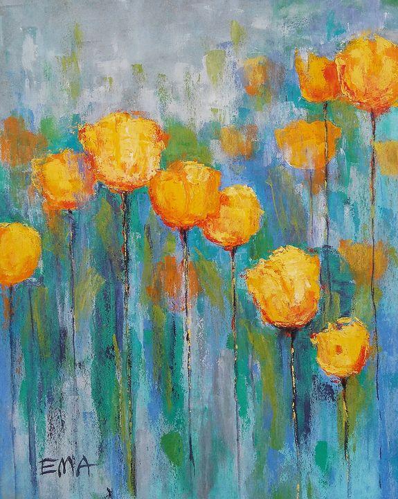 YELLOW TULIPS IN BLUE MOOD - Emilia Milcheva
