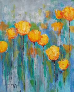 YELLOW TULIPS IN BLUE MOOD