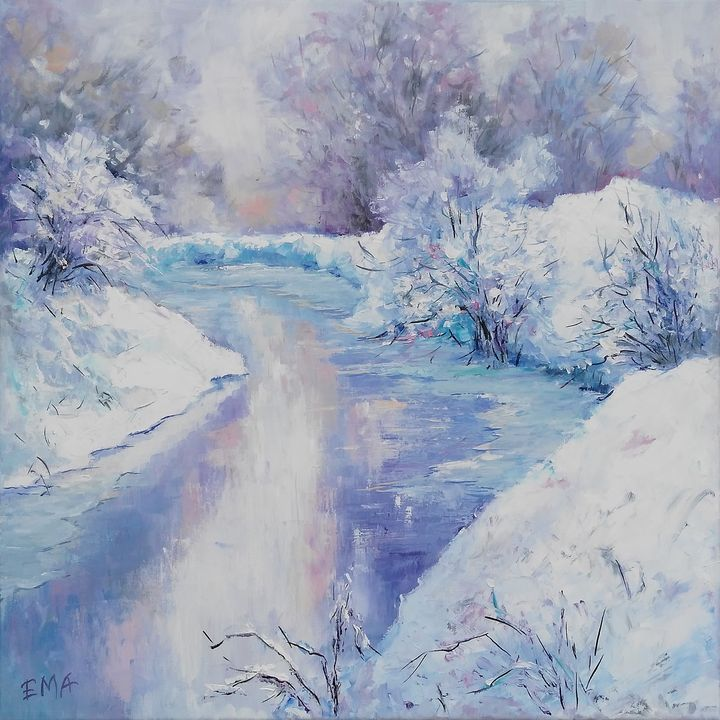 WINTER POETRY #2, 50x50cm, original - Emilia Milcheva