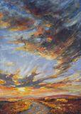 original painting sunset sky scenery
