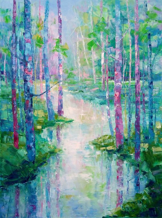 SPRING IS SPEAKING IN BLUE AND PINK - Emilia Milcheva