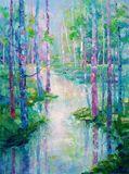 original painting river scenery