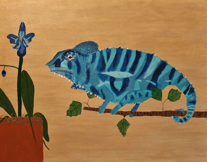 Panther Chameleon in Blue - Amy Sprague