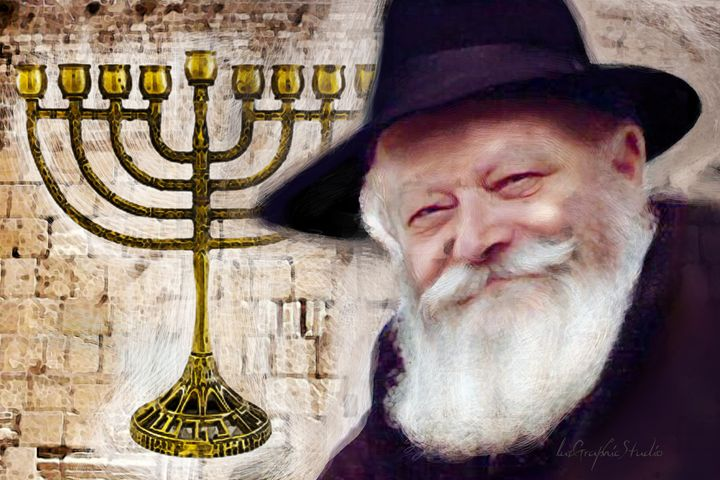 Rebbe with Kosher Menorah - LuzGraphicStudio