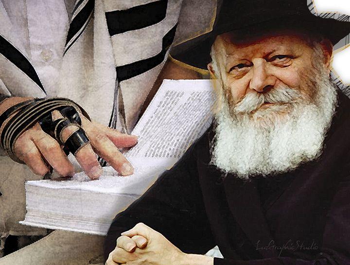 Rebbe and man praying - LuzGraphicStudio