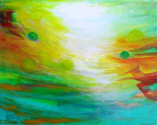 Whimsey, original abstract painting - ArtBySarahHinnant