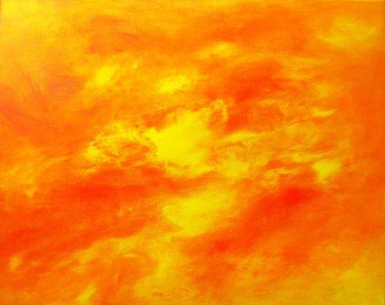 Sun, Large Abstract Canvas Painting - ArtBySarahHinnant