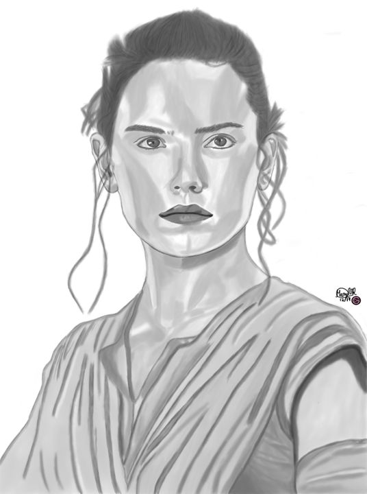 Daisy Ridley Portrait - Graphite & Digital Art