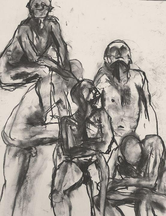 Nude male group 1594 - IanMorrisArt