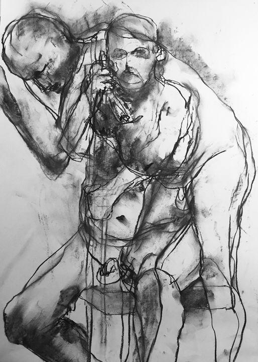 Original drawing twin male nude 2055 - IanMorrisArt