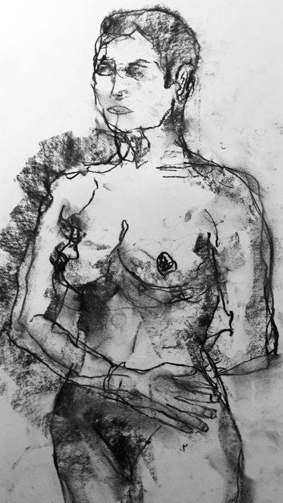 original sketch, nude woman - IanMorrisArt