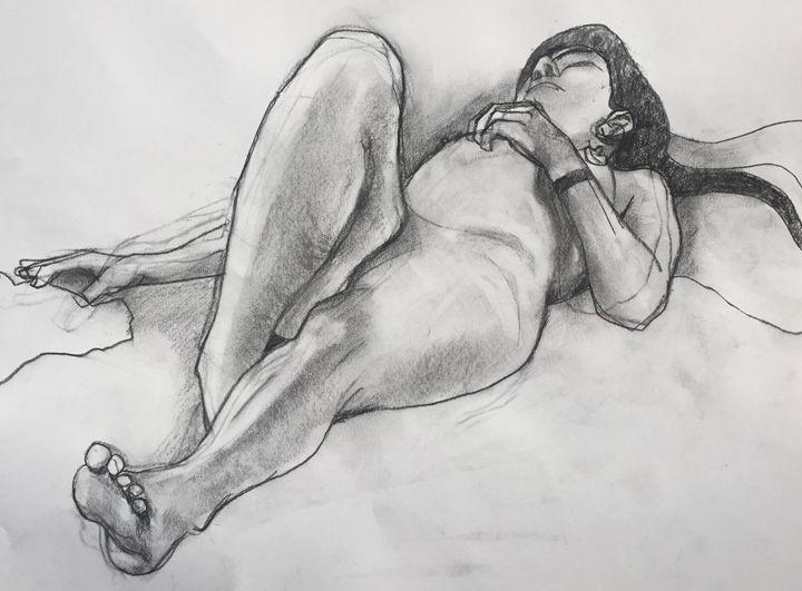original drawing, Nude girl - IanMorrisArt