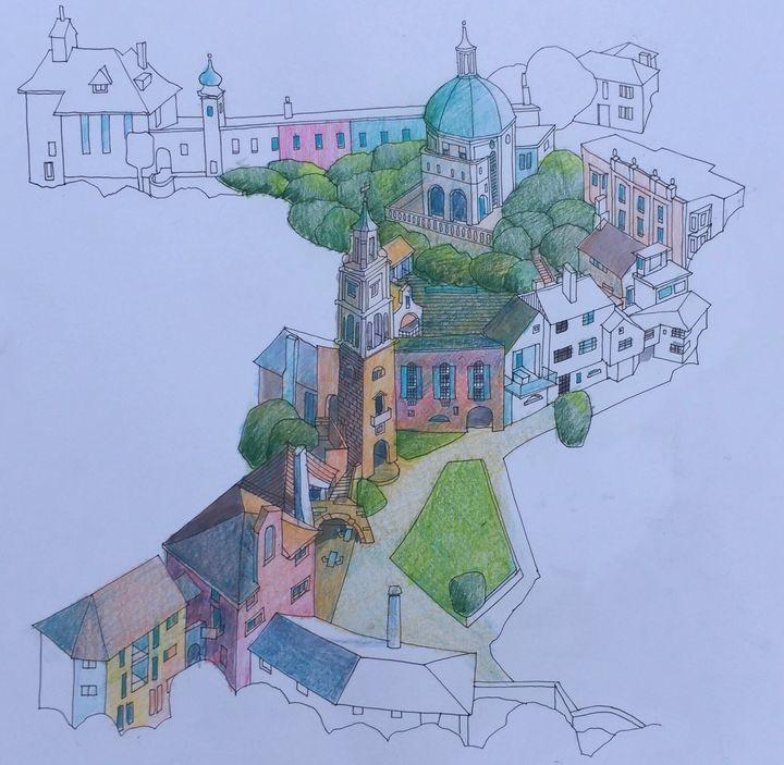 Original sketch Portmeirion - IanMorrisArt