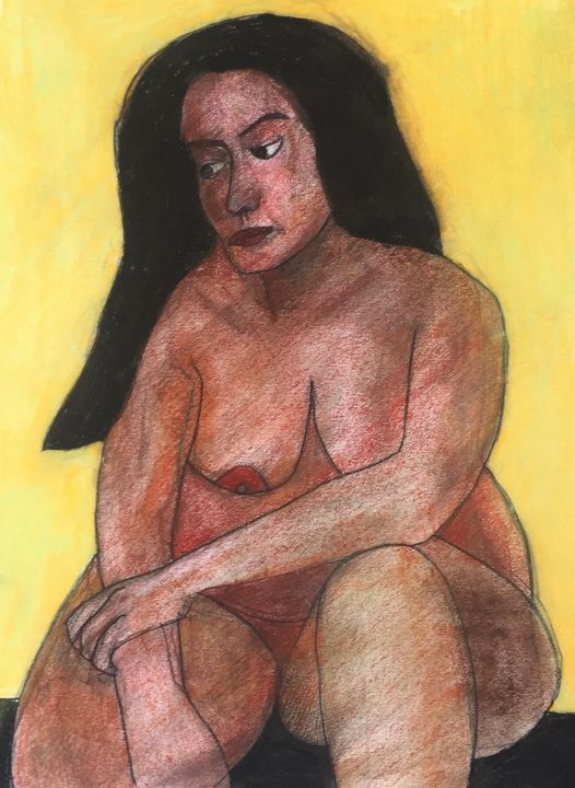 Nude lady with yellow background - IanMorrisArt