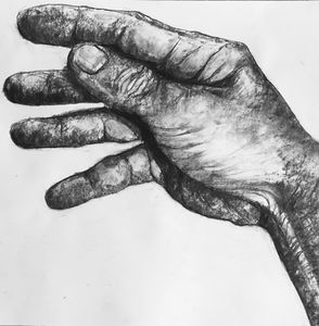 Hand. Original charcoal drawing.