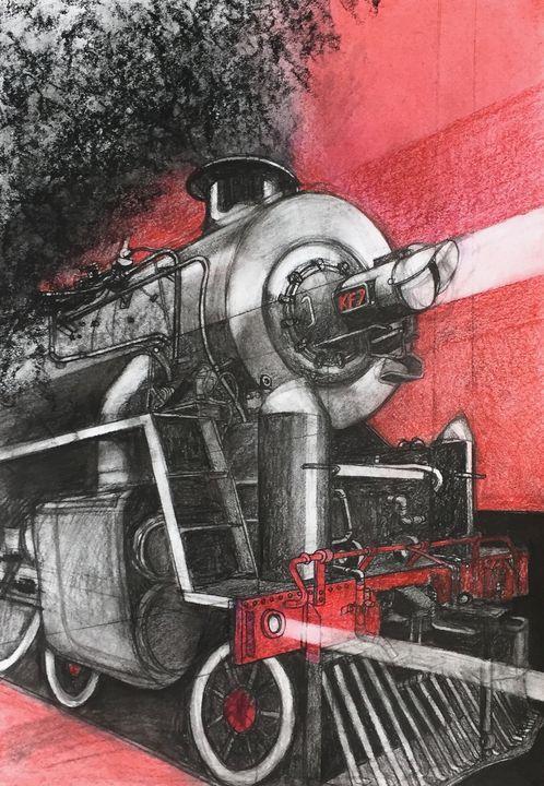 Charcoal drawing, steam locomotive - IanMorrisArt