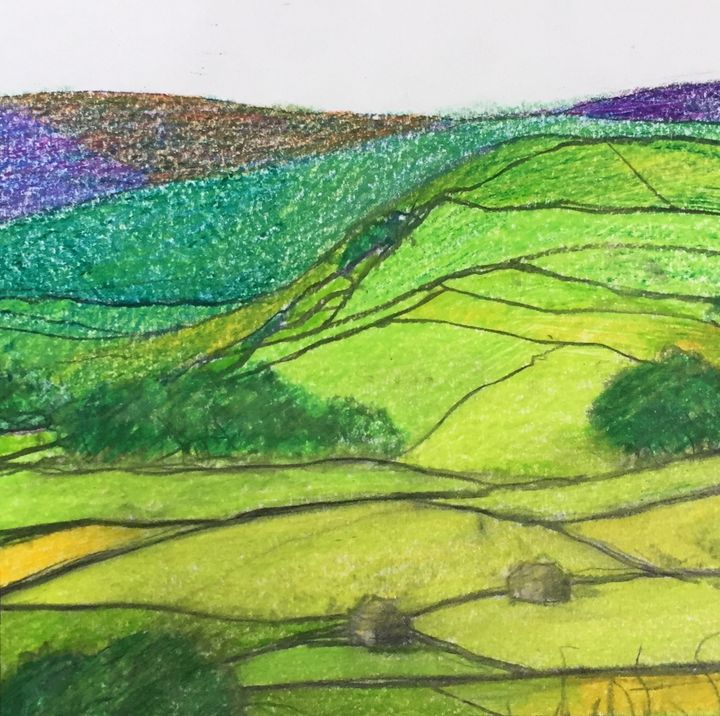 Yorkshire dales original sketch - IanMorrisArt
