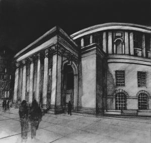 Manchester Library, original sketch - IanMorrisArt