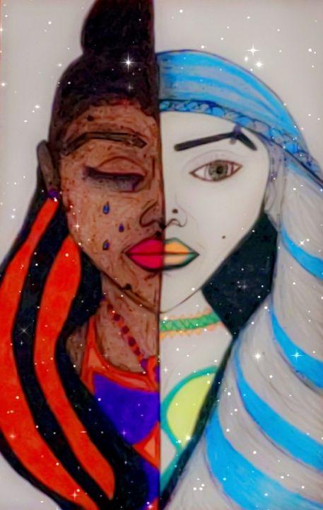 Colored sisters love - Iris creative Art