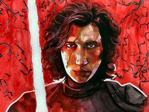 Ben Solo/Kylo Ren gouache painting