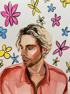 Luke Hemmings watercolour print