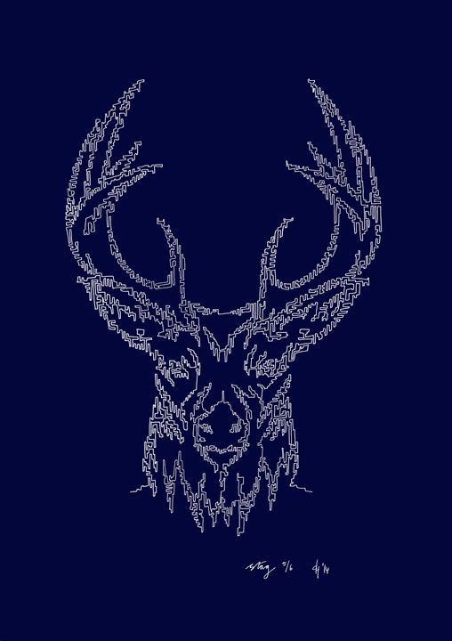 Stag's Head in Blue - abstractcartography