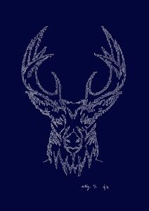 Stag's Head in Blue