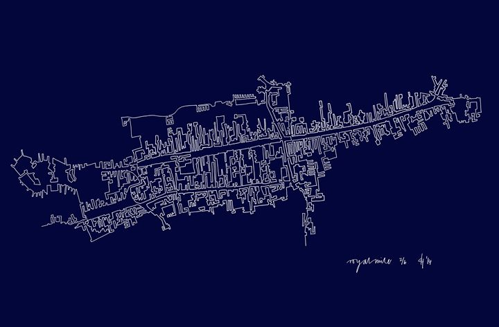 Edinburgh Royal Mile in Blue - abstractcartography