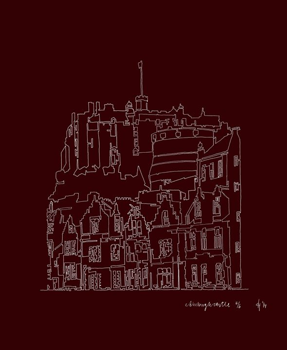 Edinburgh Castle in Red - abstractcartography