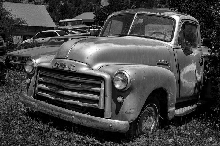 Old Vehicle XII BW GMC Truck - Dave Gordon Arts