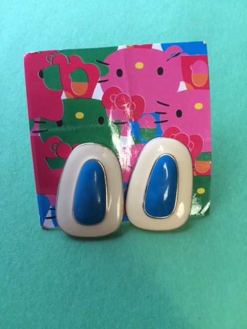 Blue & White Oblong Earrings - One of a Kind Crafts