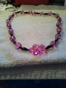 Purple and Pink Floral Necklace