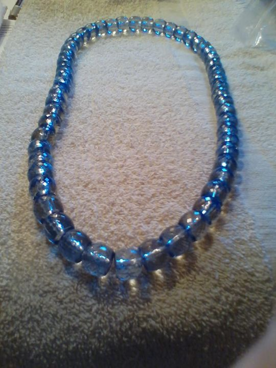 Beaded Aqua Necklace and Bracelet - One of a Kind Crafts
