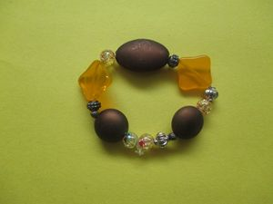 Multi Brown/Orange/Bead Bracelet