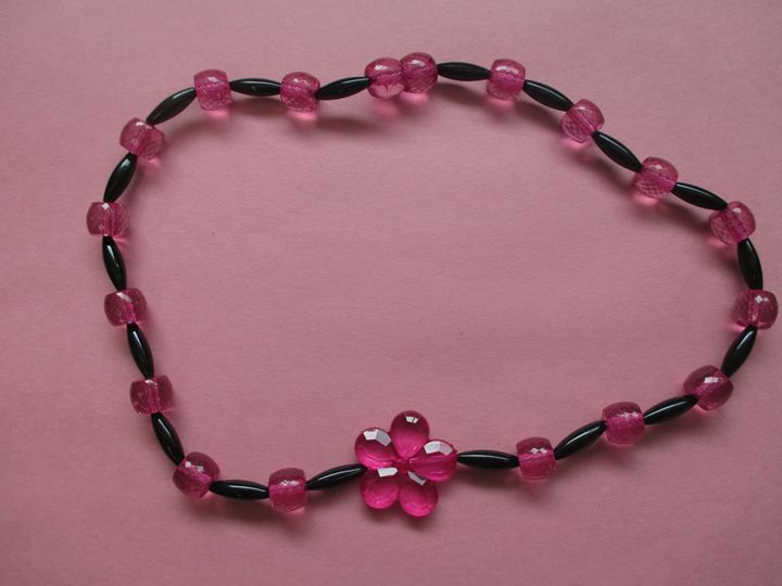Pink Flower Necklace - One of a Kind Crafts
