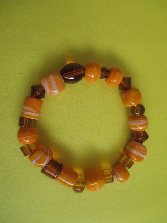 orange Bead Bracelet - One of a Kind Crafts