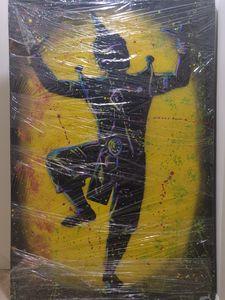 Dancing warrior on yellow