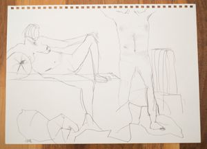 two nude studies. male/female