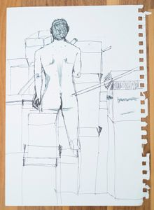 Nude drawing, male. nude study.