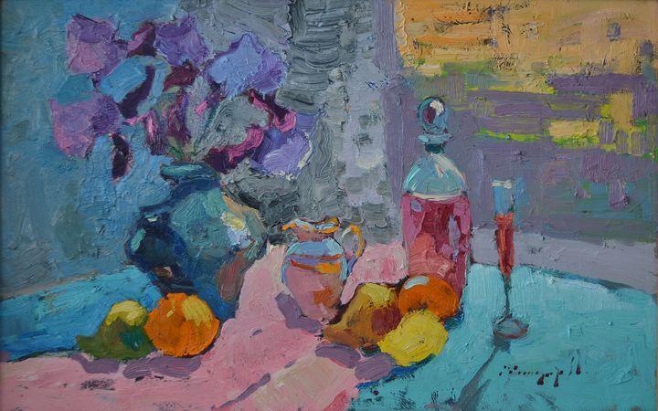Irises and fruits _ oil on cardboard - Shandor Alexander