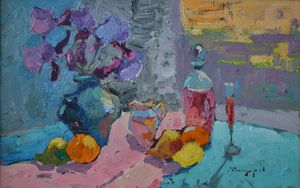 Irises and fruits _ oil on cardboard