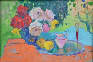 Roses and milkman _ oil on cardboard