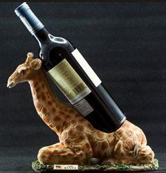 Carved Giraffe Wineholder