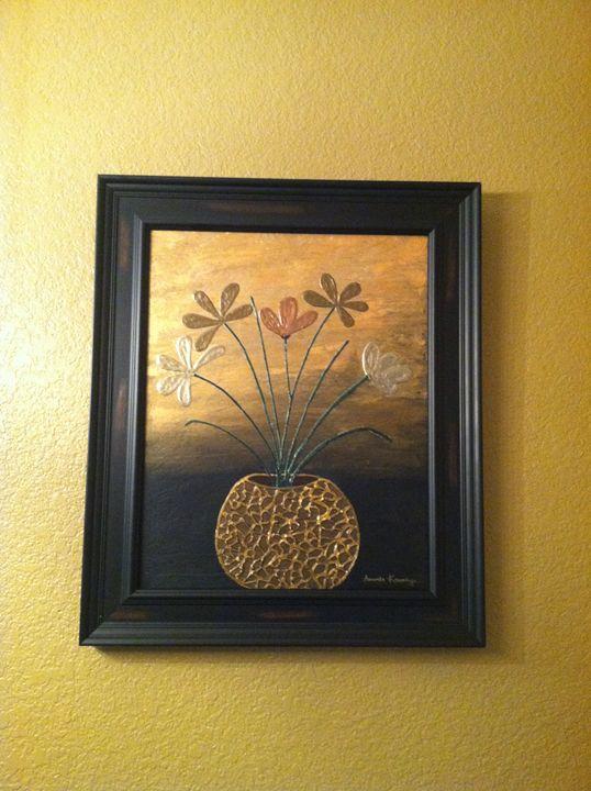 modern flower pot gold black - pretty&affordable